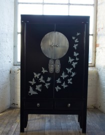 Saigon large wardrobe cabinet with drawers black with hand painted butterfly design